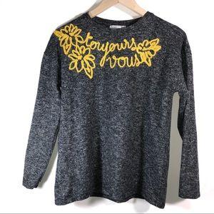 504f46c598c Zara · Zara Toujours Vous Yellow Embroidered Sweatshirt M